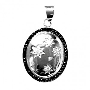 Southern Cross pendant DOME surrounded by sparkling black stones.