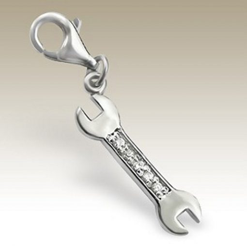 Spanner clip on charm Sterling Silver