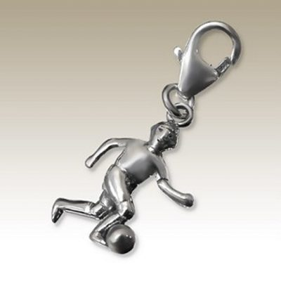 Football Soccer player clip on charm Sterling Silver
