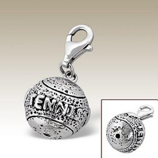 Tennis ball 3D clip on charm Sterling Silver