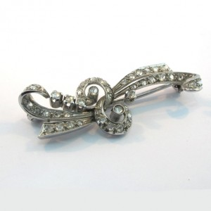 Platinum brooch rose cut diamonds Victorian