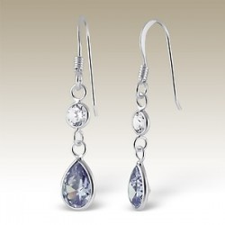 Sterling Silver earrings zirconia Clear Lavender purple