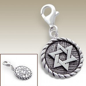 Star of David clip on charm Sterling Silver