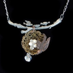 Steampunk Birds Nest necklace