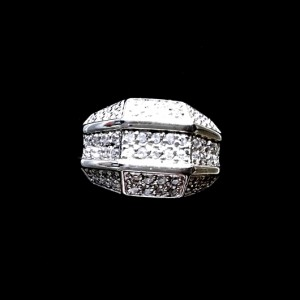 Mens Ring clear zirconia Sterling Silver