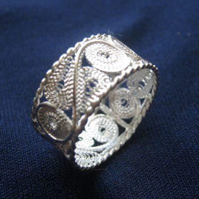 Circle band handmade ring filigree Sterling Silver