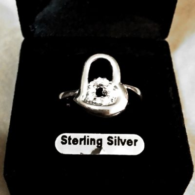 Ring clear zirconia Sterling Silver DOUBLE HEART