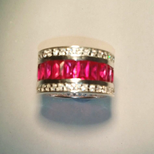 Eternity Circle Band Ring Red Stones Sterling Silver