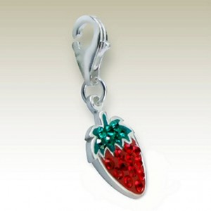 Strawberry clip on charm Sterling Silver crystal