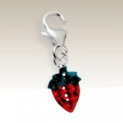 Strawberry clip on charm Sterling Silver crystals