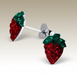 Strawberry stud earrings Sterling Silver crystal