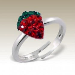 Strawberry ring Sterling Silver crystal