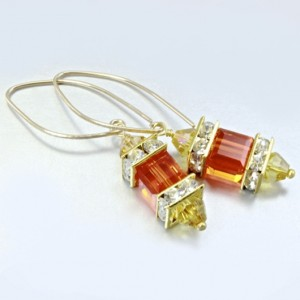 14K gold filled earrings Swarovski crystal SUN