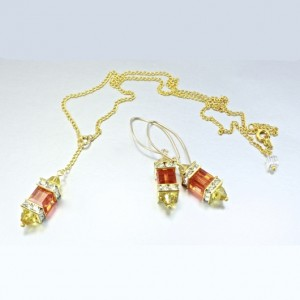 14K gold filled earrings 18K GF necklace set Swarovski SUN