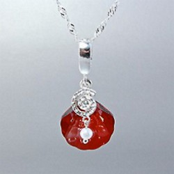 Sea Shell enhancer pendant Swarovski crystal RED MAGMA