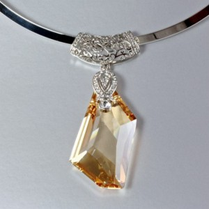 Swarovski Crystal necklace pendant Sterling Silver De-Art GOLDEN SHADOW