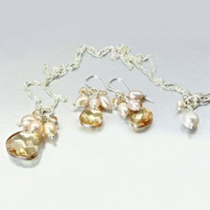 Swarovski Crystal necklace earrings set Sterling Silver GOLDEN SHADOW