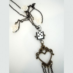 Take a Chance on Love necklace Flowers Dice