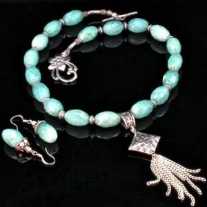 HAquamarine necklace earrings Set Tibetan Silver