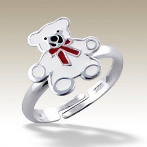 Teddy Bear adjustable ring Sterling Silver