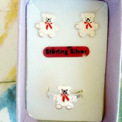 Teddy Bear stud earrings ring Set Sterling Silver