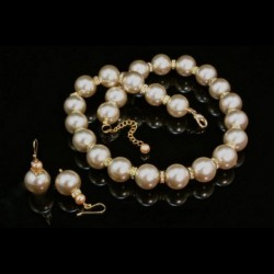 Swarovski Pearls earrings necklace Set GOLD