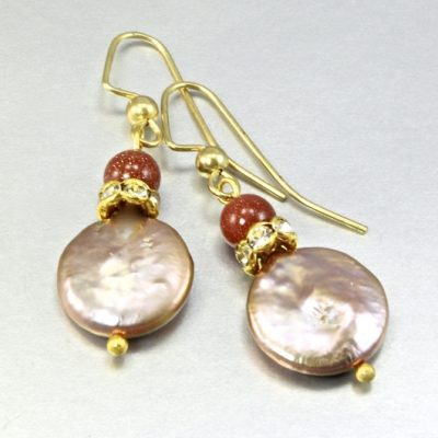 Freshwater Pearl goldstone earrings Vermeil
