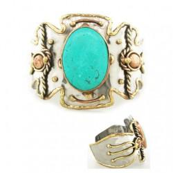 Cuff bracelet Turquoise tri colour metal
