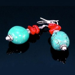 erling Silver earrings Turquoise red Coral