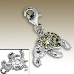Turtle 3D clip on charm Sterling Silver crystal