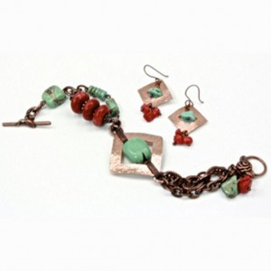 Nevada Turquoise earrings bracelet Coral