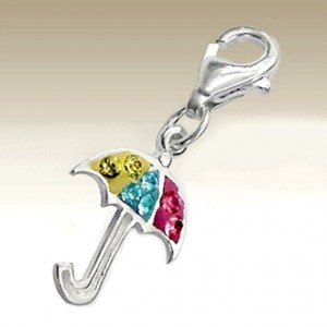Umbrella clip on charm Sterling Silver crystal