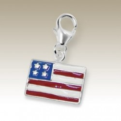 Flag USA clip on charm Sterling Silver