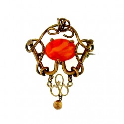 Art Nouveau brooch Mexican Fire Opal 4.35ct