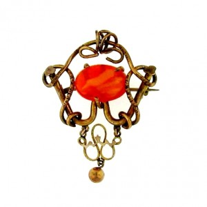 Art Nouveau brooch Mexican Fire Opal 4.35ct