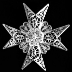 Silver 917 filigree Maltese Cross Brooch 4.5cm Antique