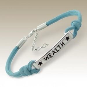Sterling Silver Bracelet inspirational tag WEALTH cord Blue