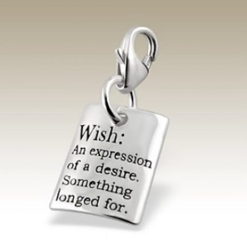 Wish clip on charm Sterling Silver