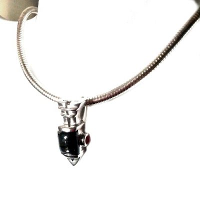 Sterling Silver pendant Smoky Quartz Rubies and Omega chain