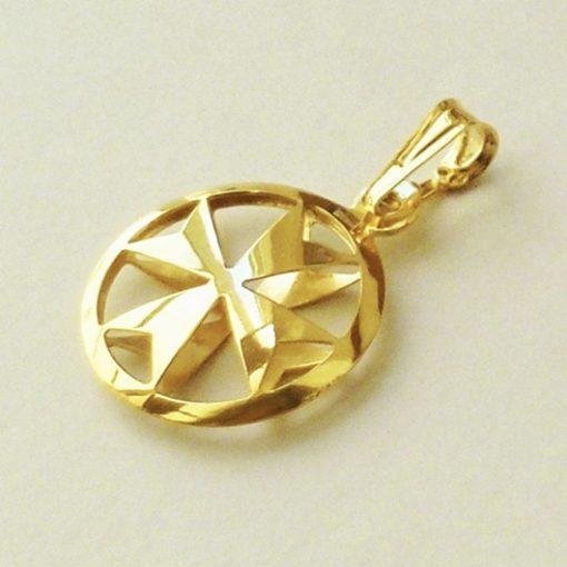 9ct Gold Maltese Cross double sided pendant