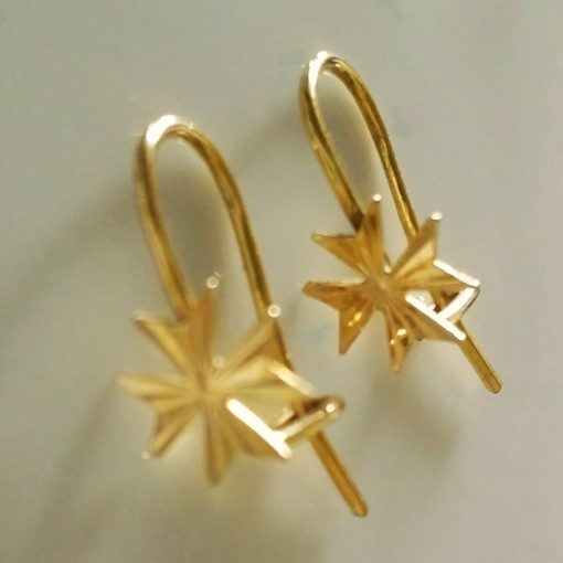 9ct Gold Maltese Cross earrings hook diamond cut