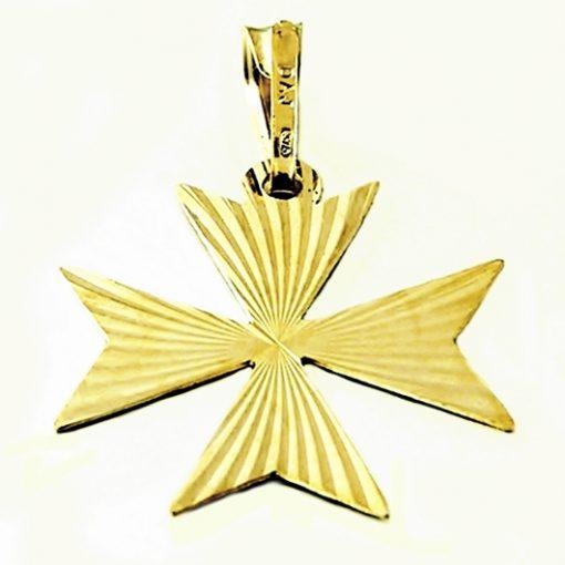 9ct Gold Maltese Cross pendant diamond cut 2.6cm