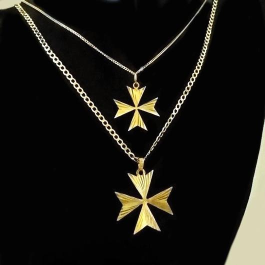 9ct Gold Maltese Cross Diamond Cut Pendant 2 1cm Made In
