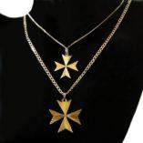 9ct-gold-maltese-cross-pendants-diamond-cut-Curb-chains