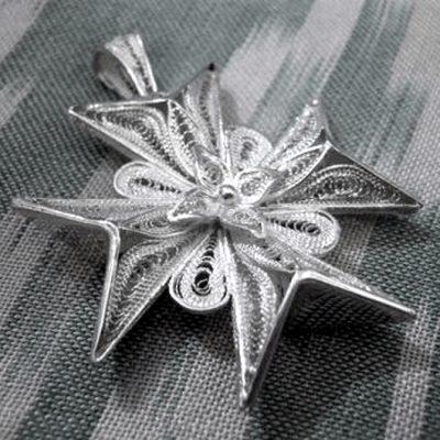 Maltese Cross filigree pendant Sterling Silver 3D double sided