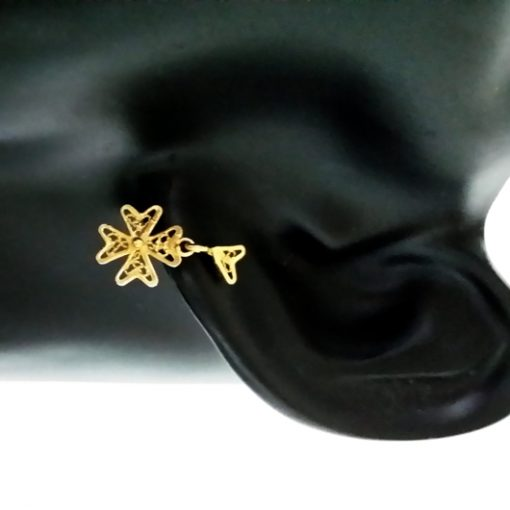 9ct Gold Maltese Cross earrings filigree