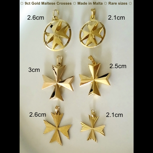 9ct gold maltese cross 3d pendant 25cm made in malta 9ct gold maltese cross pendants rare sizes made aloadofball Image collections