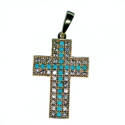 9ct Gold cabochon Turquoise and zirconia Cross Europe.