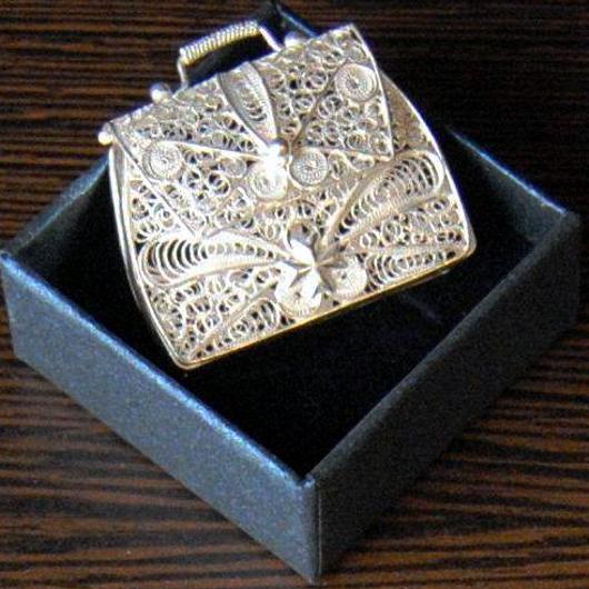 Bijoux Argent Filigrane Malte : Sterling silver filigree handbag maltese cross