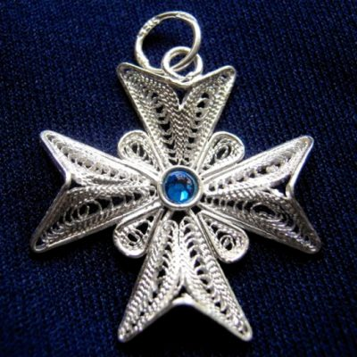 Maltese Cross filigree pendant Sterling Silver 2.5cm dark blue